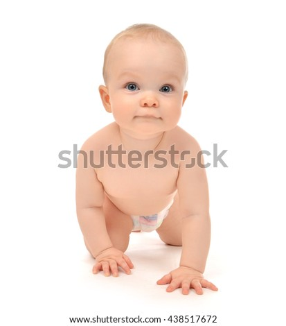 Infant child baby toddler sitting crawling happy smiling in diaper naked looking straight isolated on a white background - stock photo