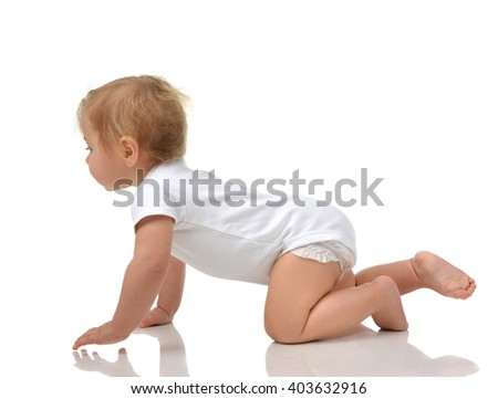Infant child baby toddler sitting crawling happy smiling in in white body cloth looking straight isolated on a white background