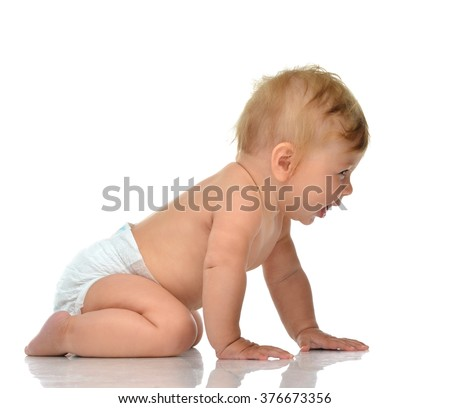 infant child baby toddler sitting or crawling happy smiling laughing isolated on a white background
