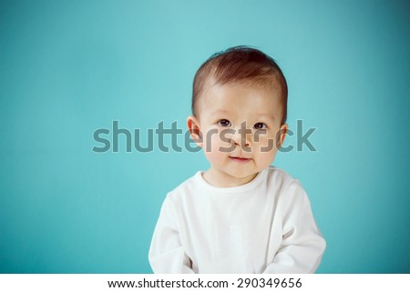Infant child crawl, new family and love concept. - stock photo
