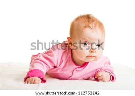 Infant girl holding head isolated on white