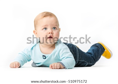 infant on a white background