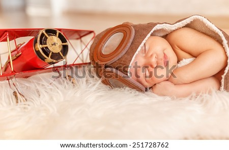 infant. small pilot - stock photo