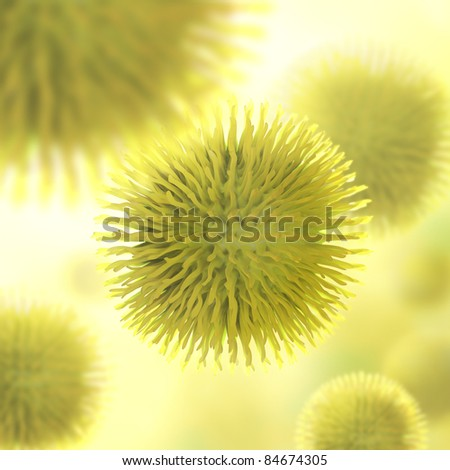 Infectious virus closely. Concept of disease transmission and epidemic. - stock photo