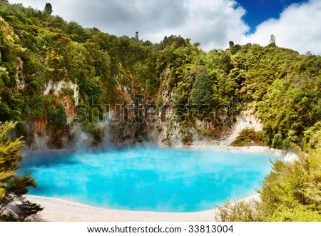 Inferno Crater Lake in Waimangu volcanic valley, New Zealand - stock photo