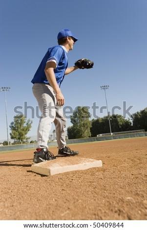 Infielder on field - stock photo
