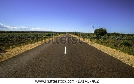 Infinite desert highway South Australia - stock photo