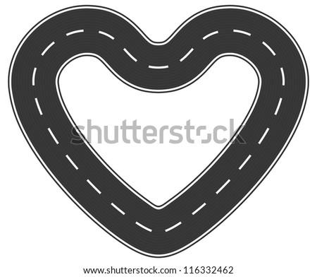 Infinite heart asphalt road of love - stock photo