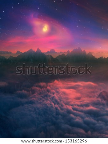 Infinite space alpine peaks fascinates the traveler and calls him into the mountains again and again.Infinite space alpine peaks fascinates the traveler and calls him into the mountains again - stock photo