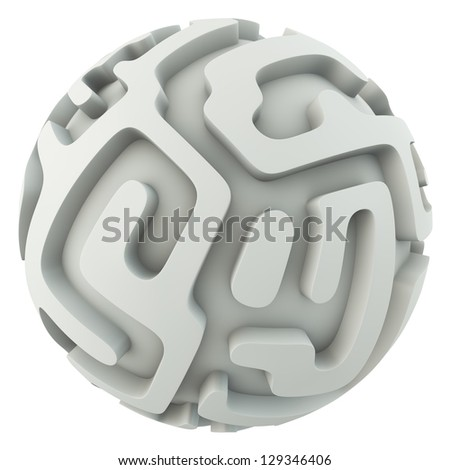 Infinite sphere maze isolated on white background concept 3D render. - stock photo