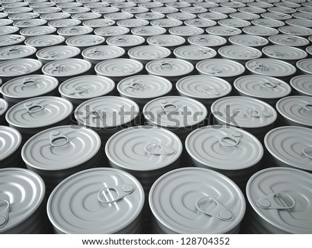 Infinite Stockpile of 3D Rendered Tin Cans Fading Into The Background - stock photo