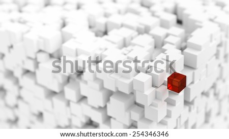 Infinite white cubes with a red one representing success, power and distinction.