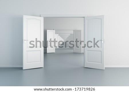 infinity empty white rooms with opened doors - stock photo