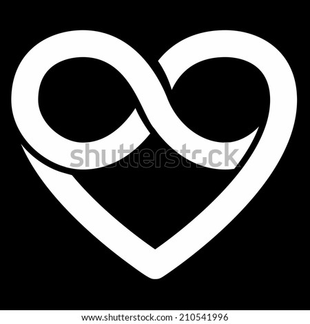 Infinity heart symbol, forever - stock photo