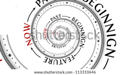 Infinity life concept.  Spiral with past and future. - stock photo