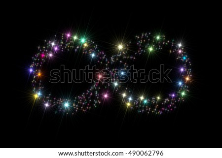 Infinity symbol composed of multicolor stars isolated on black background.