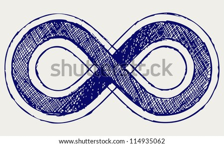Infinity symbol. Doodle style. Raster version - stock photo