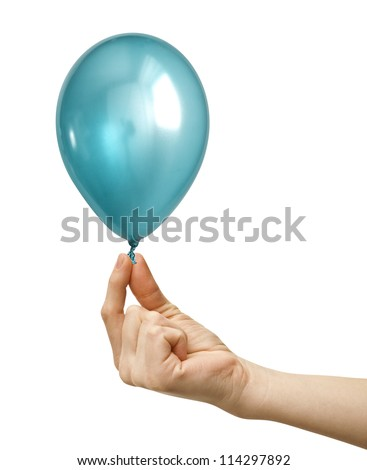 Inflatable balloon, hand photo on the white background - stock photo