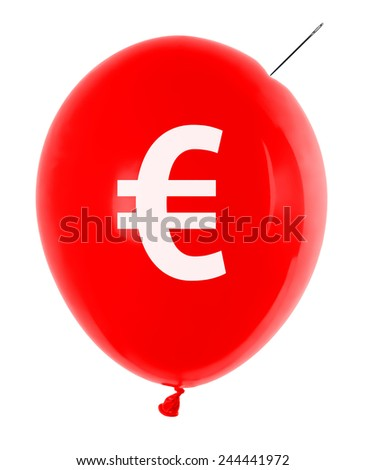 inflatable balloon with euro symbol and needle - stock photo