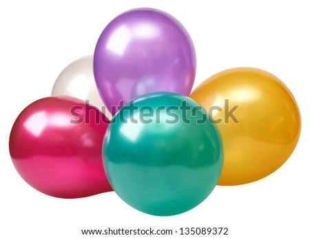 Inflatable balloons isolated on a white background - stock photo