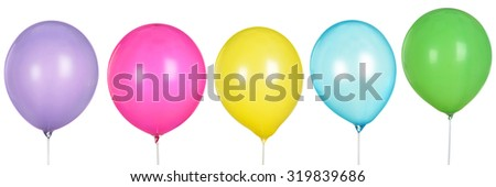 Inflatable Balls collection Isolated on White Background. shooting  Studio. Toy - stock photo