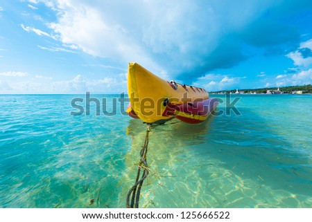Inflatable banana boat at Caribbean Sea, San Andres Island, Colombia, South America - stock photo