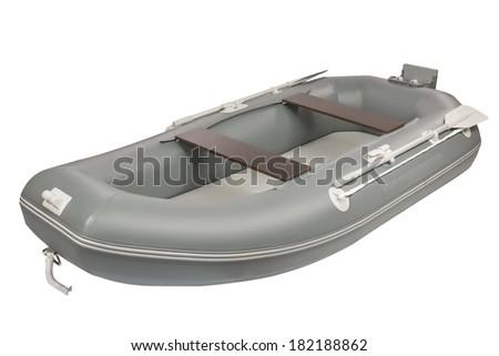 Inflatable boat shot isolated on white background - stock photo