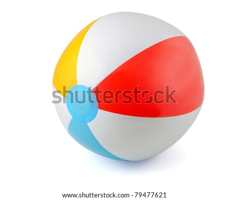 Inflatable PVC beach ball isolated on white - stock photo