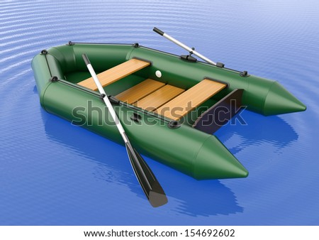 Inflatable rubber boat isolated on the water - stock photo