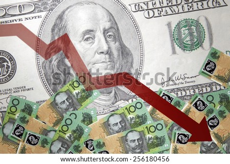 Inflation Australian dollar against the backdrop of the US dollar - stock photo