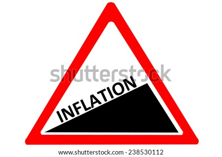 Inflation increasing warning road sign isolated on pure white background - stock photo