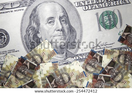 Inflation New Israeli Shekel against the backdrop of the US dollar - stock photo