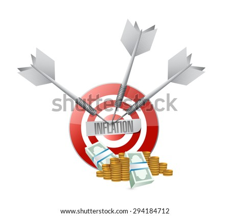 inflation target and money sign concept illustration design graphic - stock photo