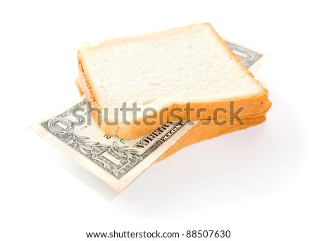 Inflation. That you can place in a sandwich - your money. - stock photo