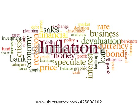 Inflation, word cloud concept on white background.  - stock photo