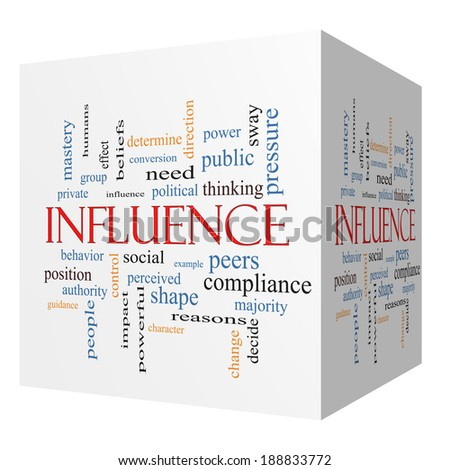 Influence 3D cube Word Cloud Concept with great terms such as example, control, beliefs and more. - stock photo