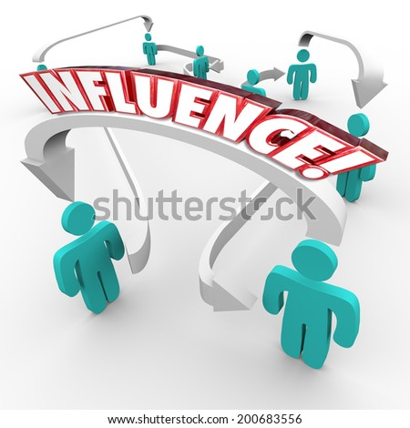 Influence word on arrows connecting people in a targeted group for marketing  - stock photo