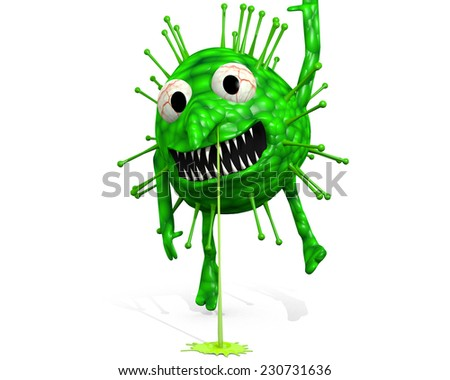 Influenza Virus - Still Hanging Around: A cartoon illustration of the influenza virus. - stock photo