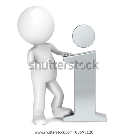Info. 3D little human character pointing at a Steel info icon. People series. - stock photo