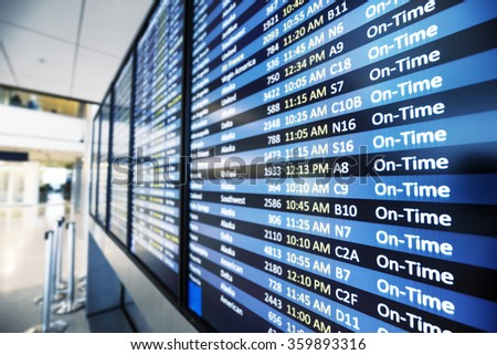 info of flight on billboard in airport - stock photo