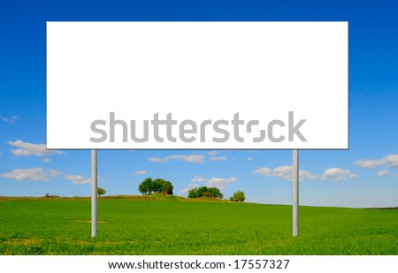 info sign on a green field - stock photo