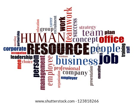 Info text graphic Human Resource in word shape isolated in white background - stock photo