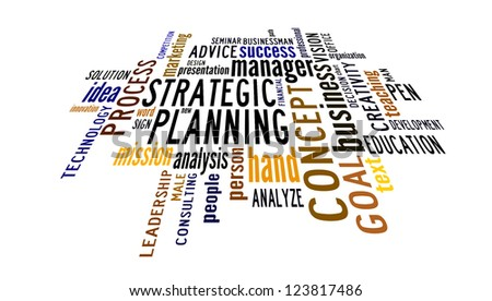 Info text graphic Strategic Planning in word shape isolated in white background
