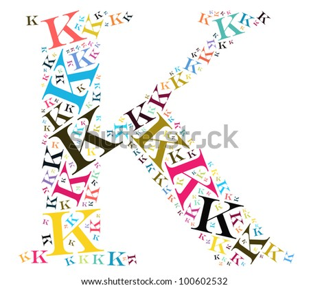 Info-text graphics and arrangement concept (word clouds) begin with alphabet K isolated white background - stock photo