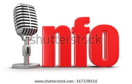 Info with Microphone (clipping path included) - stock photo