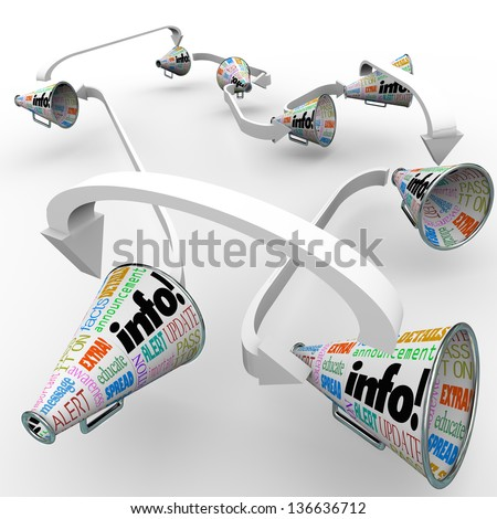 Info word on bullhorns or megaphones to represent sharing of information, communication and spreading of important news or messages - stock photo
