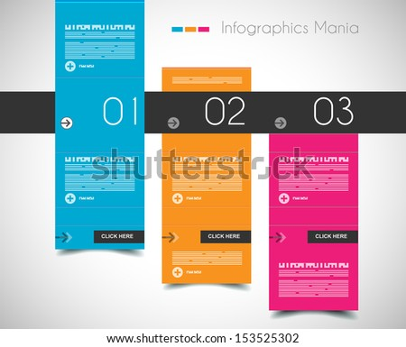 Infographic design template with flat design panels and clear uniform colours. - stock photo