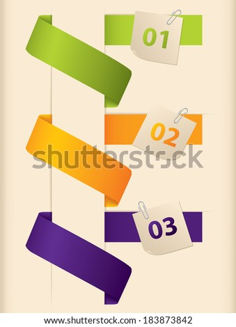 Infographic design with colored ribbons and notepapers
