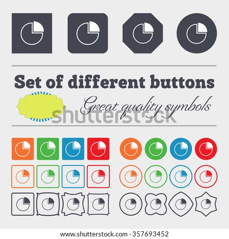 Infographic icon sign. Big set of colorful, diverse, high-quality buttons. illustration
