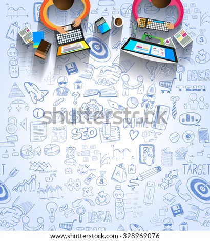 Infographic template for your business solutions presentation. A lot of Infographics elements with options over a doodle sketches background with graphs, maths formula and so on. - stock photo